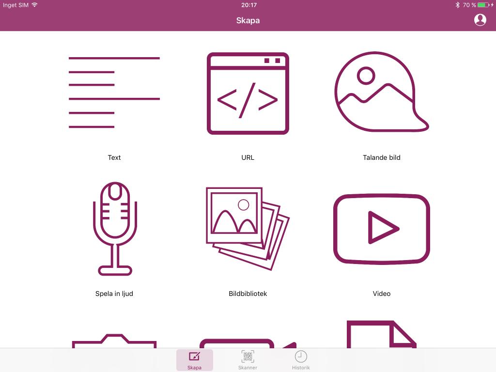 Skärmbild på Cloud QR som inloggad
