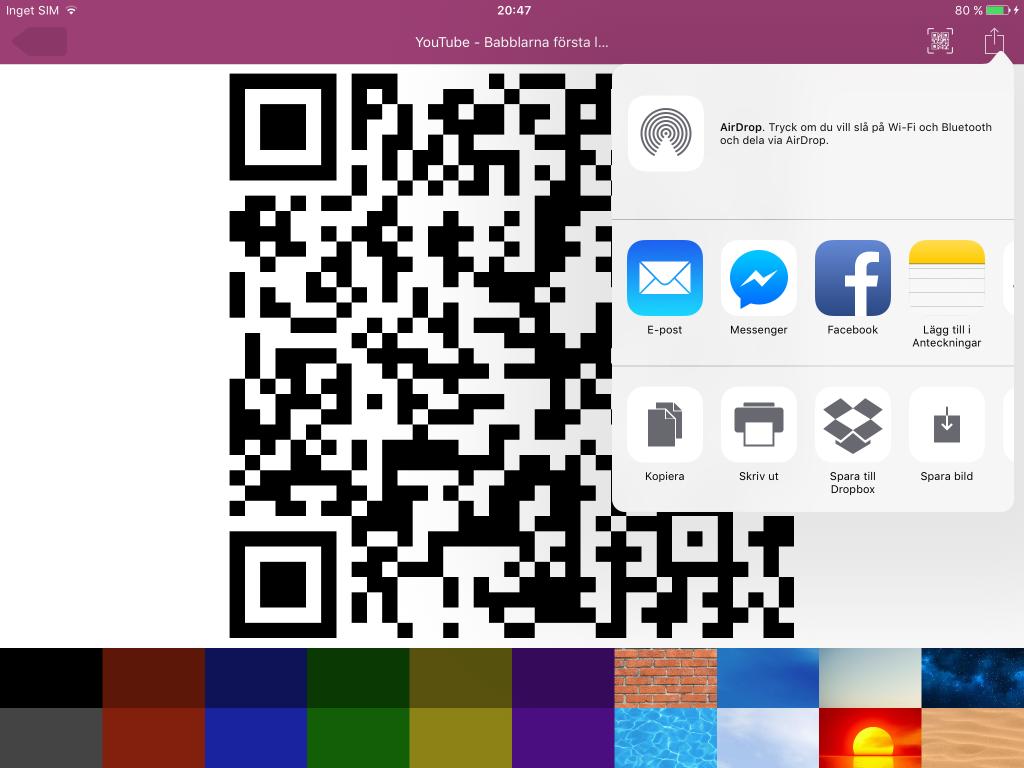 Cloud QR - Skicka din QR-kod till en annan app